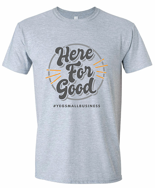"Here For Good campaign T-shirt with ""Here For Good"" design"